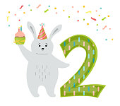 Greeting Happy Birthday card, rabbit with cake and number two. Hand drawn hare cartoon character in hat, cupcake. Congratulate child 2th birthday. Funny flat Animal Isolated vector illustration