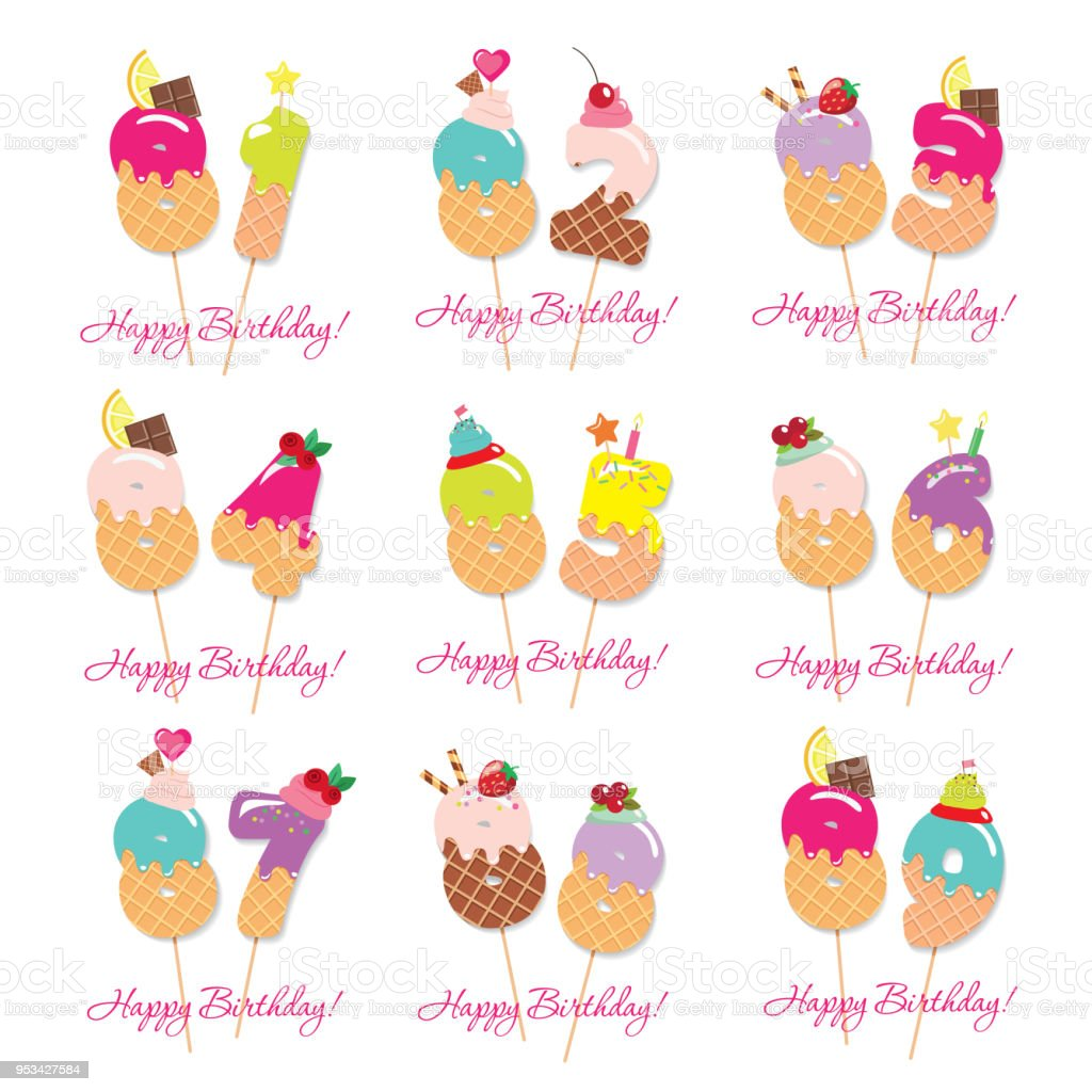 Birthday Card Set Festive Sweet Numbers From 81 To 89 Coctail Straws Funny Decorative Characters Vector