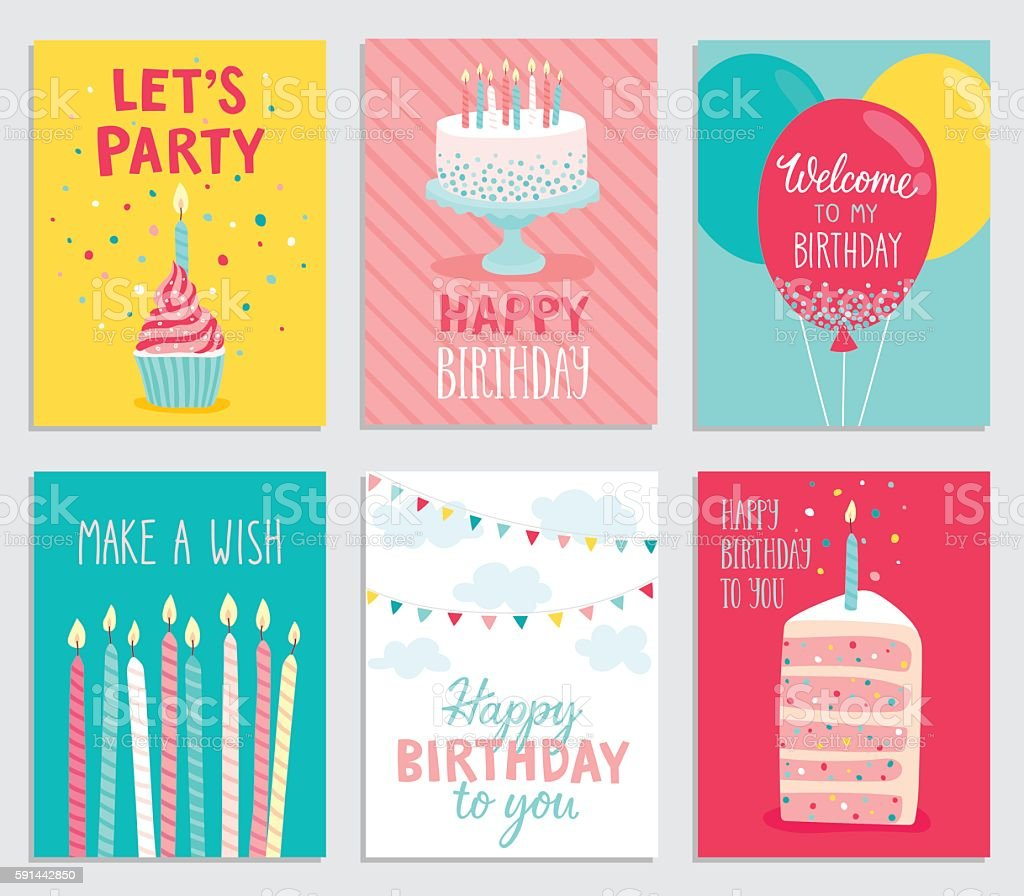 Birthday card set. - ilustración de arte vectorial