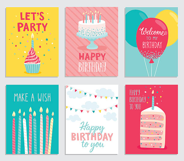 birthday card set. - happy birthday cake stock illustrations, clip art, cartoons, & icons