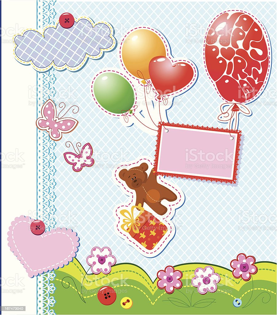 birthday card - teddy bear flying with balloons royalty-free stock vector art