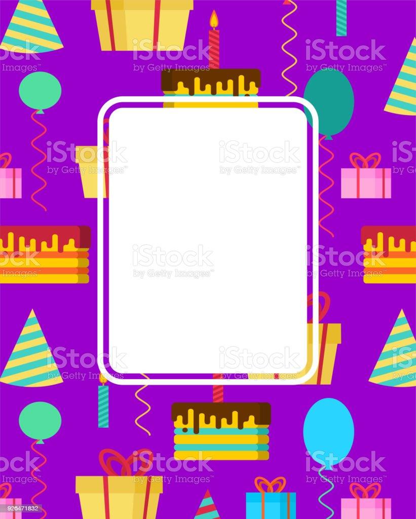 Tarjeta De Cumpleaños Plantilla De Aniversario Lugar Para El Texto ...