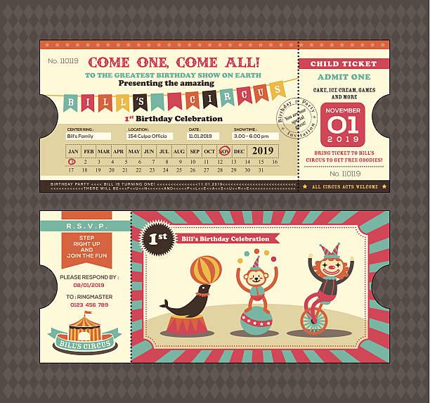 stockillustraties, clipart, cartoons en iconen met birthday card ticket style - birthday gift voucher
