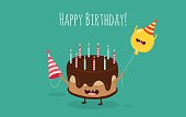 Happy birthday card. Funny birthday cake and balloon friends. Vector illustration.