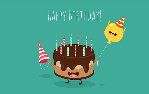 birthday card - happy birthday cake stock illustrations, clip art, cartoons, & icons
