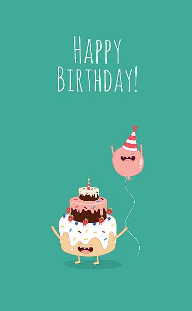 illustrations, cliparts, dessins animés et icônes de carte d'anniversaire - ballon anniversaire smiley