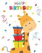 birthday card. giraffe