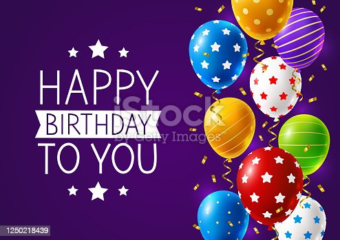 Birthday card with a border of bright multi-colored balloons and confetti on a purple background