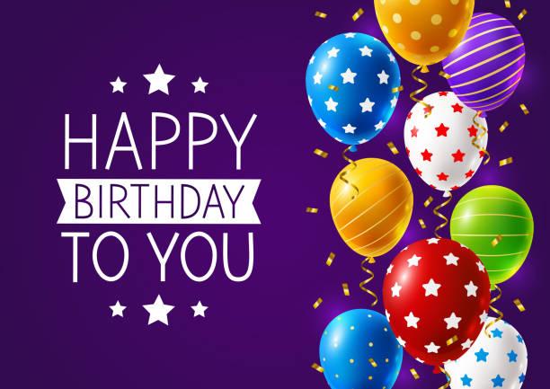 ilustraciones, imágenes clip art, dibujos animados e iconos de stock de tarjeta de cumpleaños con un borde de globos multicolores brillantes y confeti sobre un fondo púrpura - cumpleaños