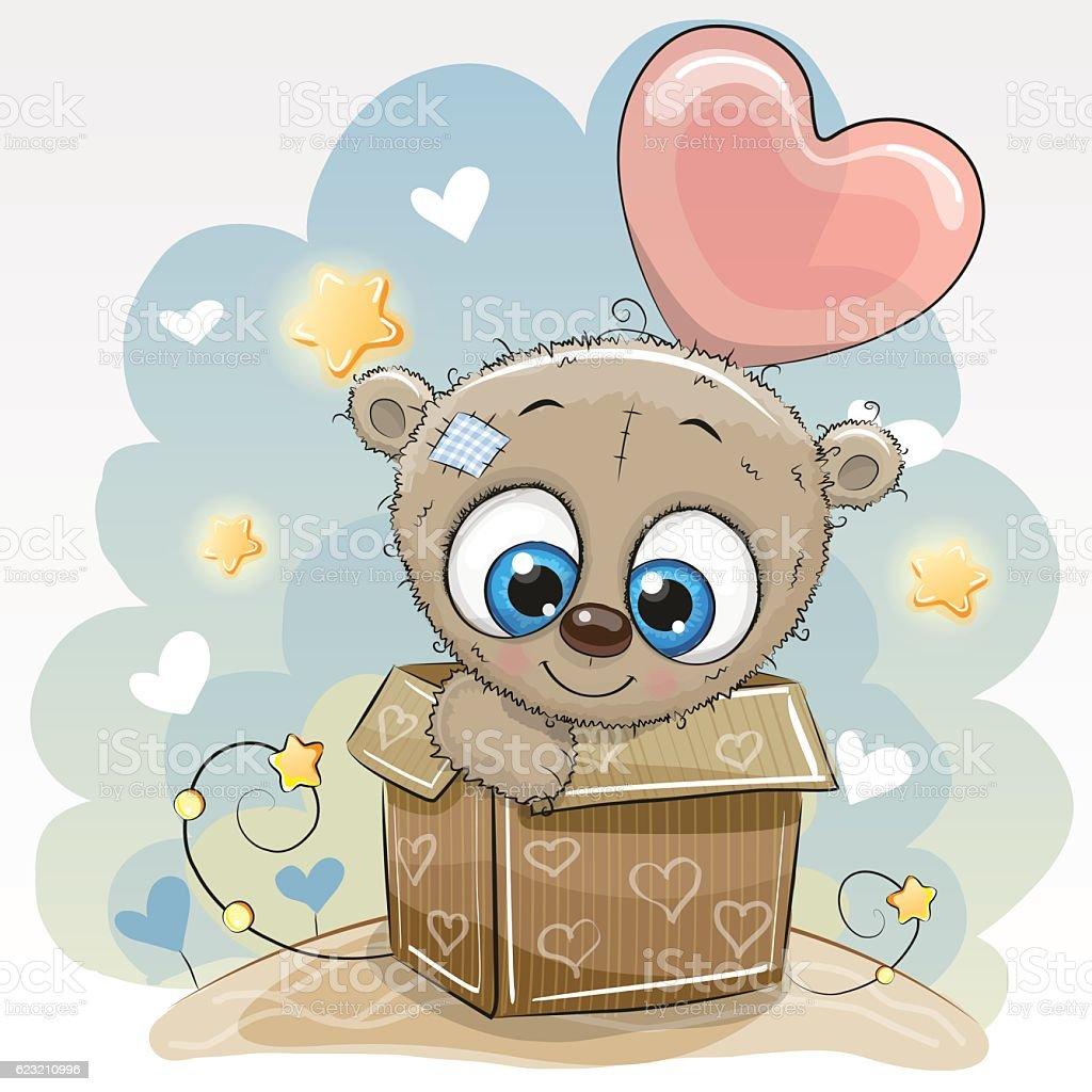 Birthday Card With A Cute Teddy Bear Lizenzfreies Stock