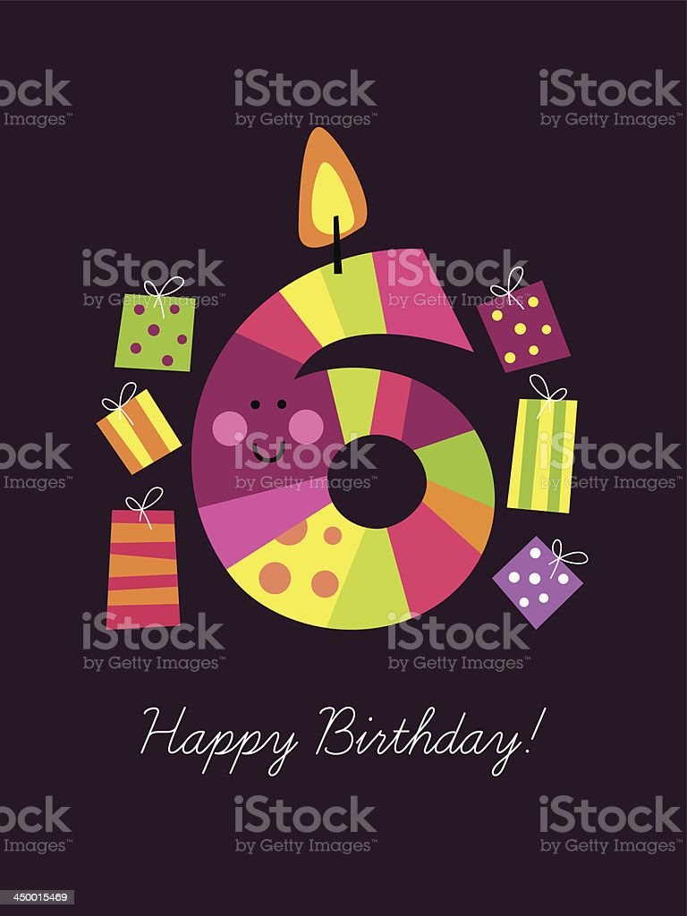 Birthday Card With A Funny Candle Royalty Free Stock