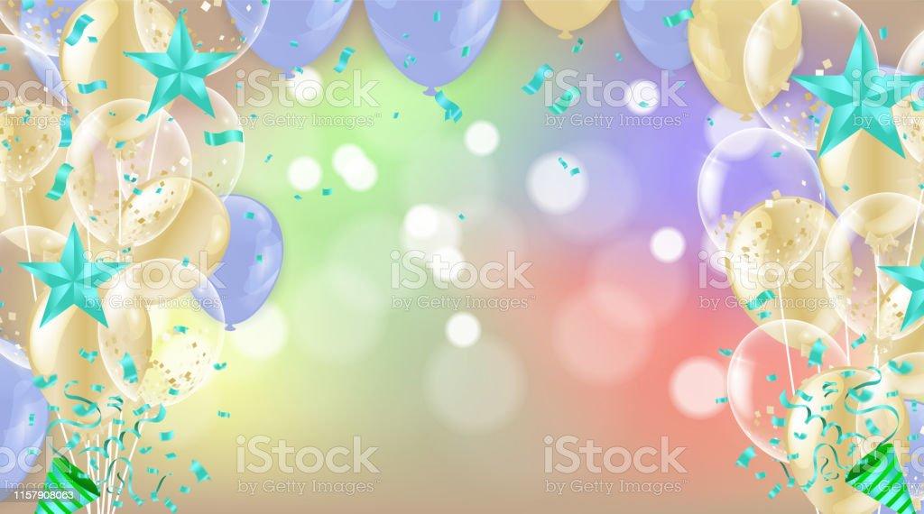 Geburtstagskarte Mit Ballons Herzlichen Glückwunsch Zum