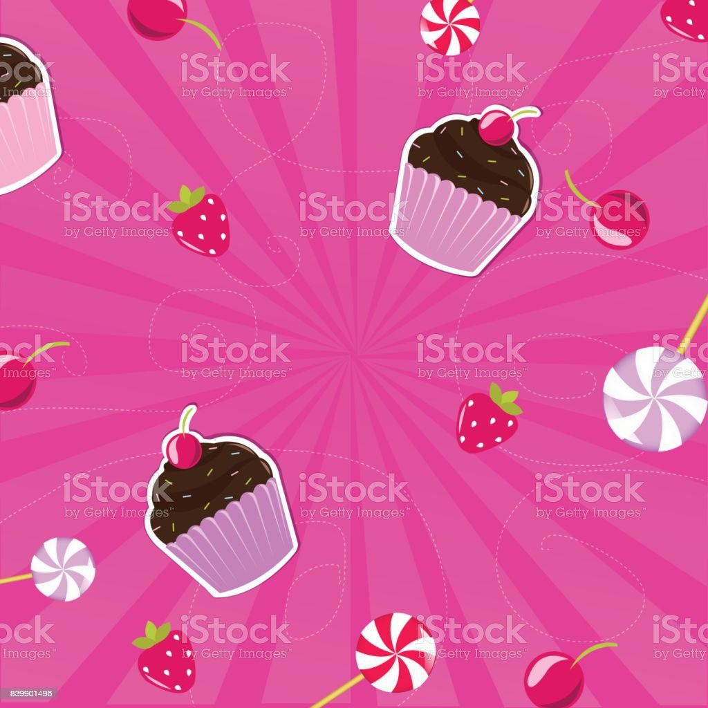 Birthday Card With Berry vector art illustration