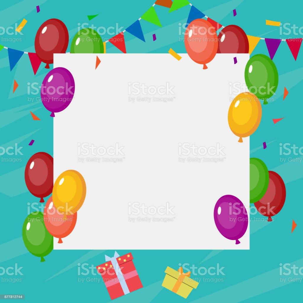 Birthday Card With Blank Sign Lizenzfreies Stock Vektor Art Und Mehr