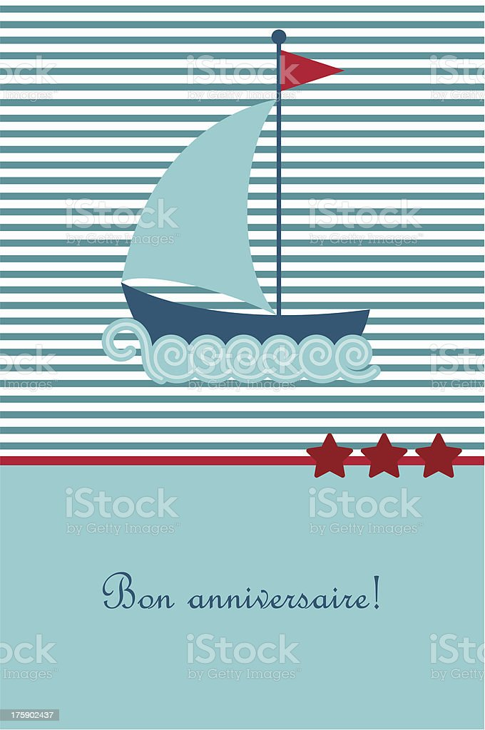 Birthday card with boat