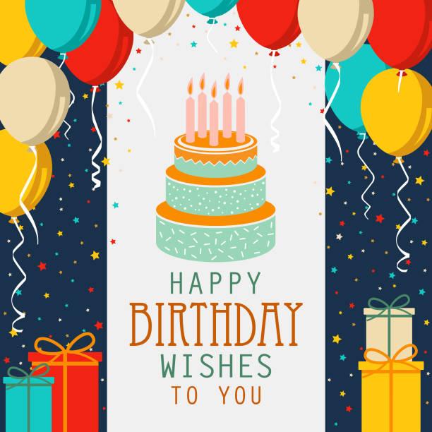 stockillustraties, clipart, cartoons en iconen met de kaart van de verjaardag met cake en kleurrijke ballons in vlak ontwerp - verjaardagskado