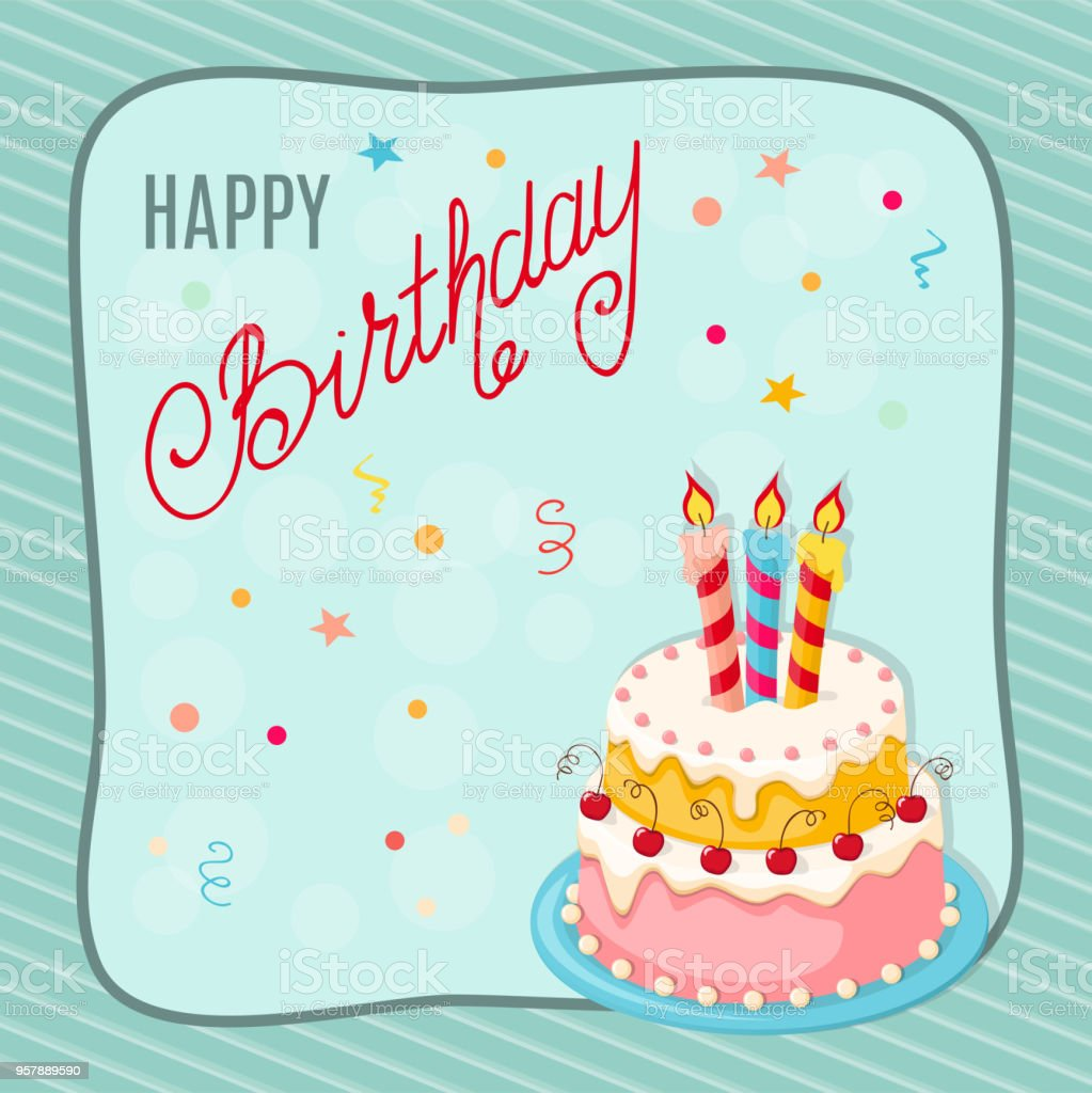 Birthday Card With Cake Cherries Three Candles Into Frame Stock