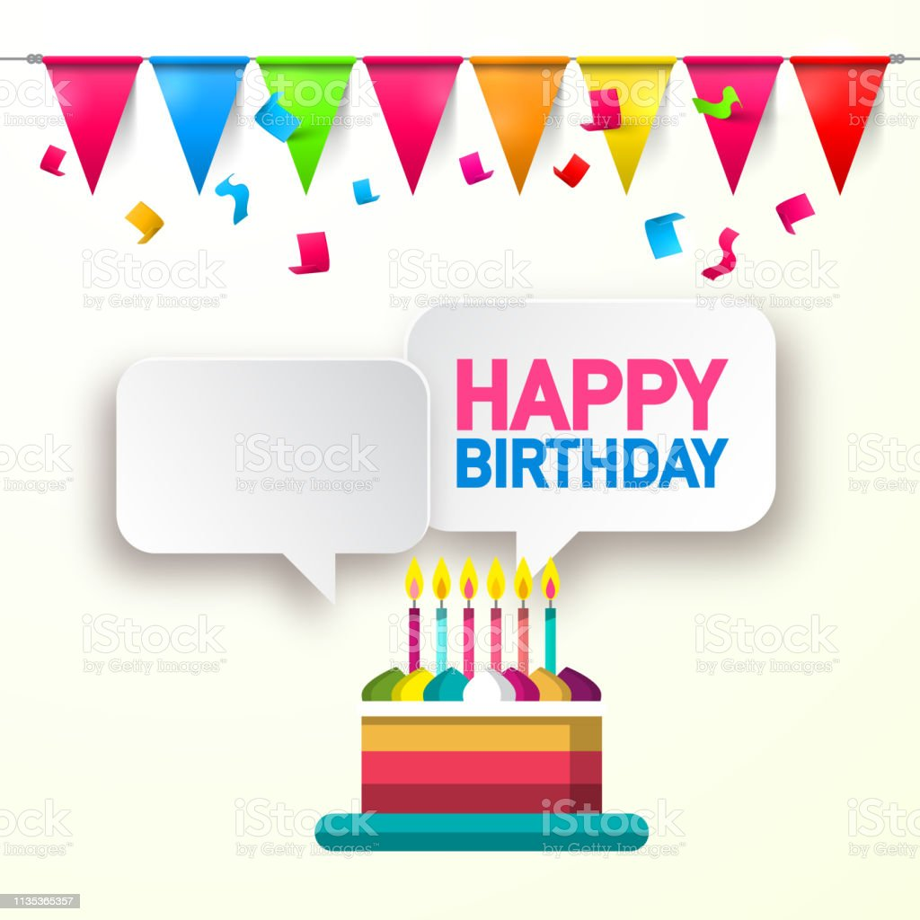 Birthday Card with Cake, Confetti and Flags vector art illustration