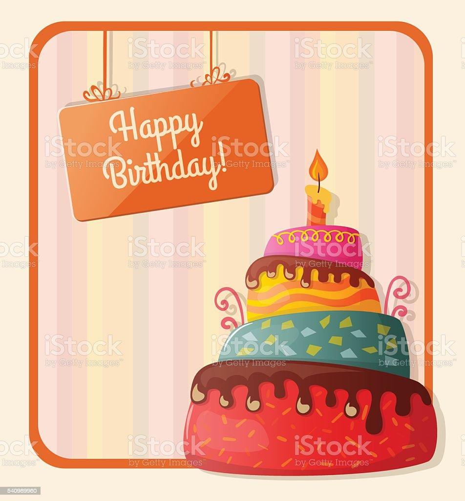 Favorito Cartolina Di Buon Compleanno Con Torta Illustrazione 540989960  OE43