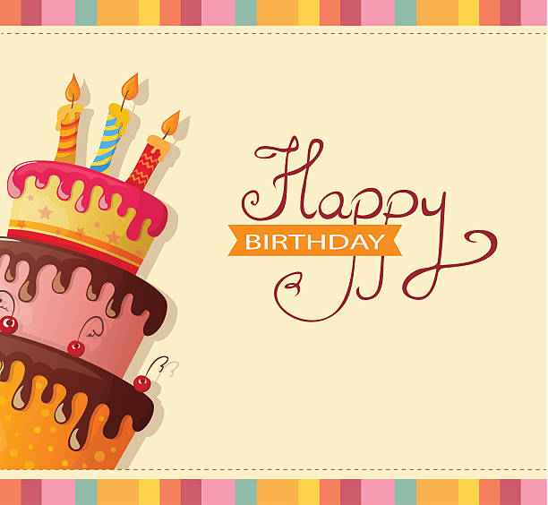 birthday card with cake vector art illustration