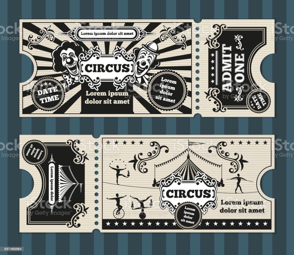Geburtstagskarte Mit Zirkus Tickets Vektor Vorlage Lizenzfreies Zirkustickets Vektorvorlage Stock Art