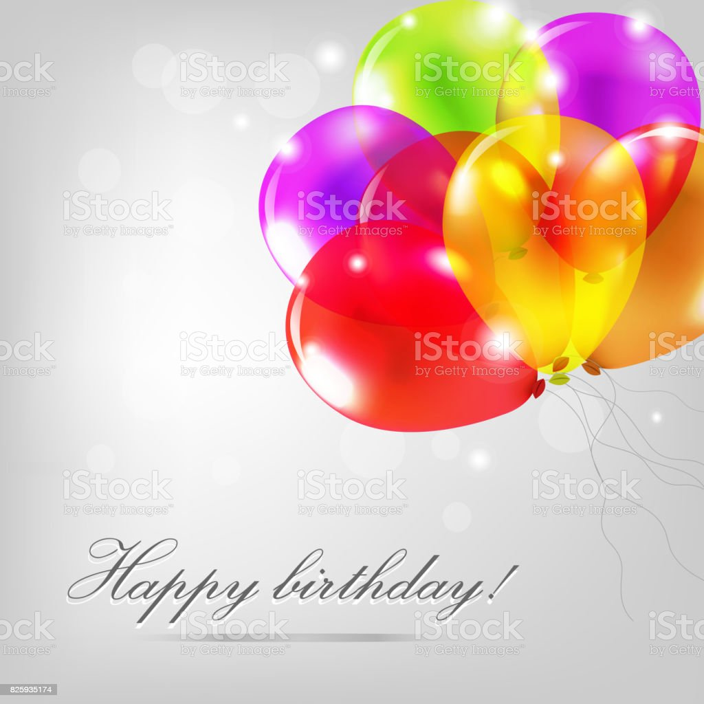 Birthday Card With Color Balloons vector art illustration