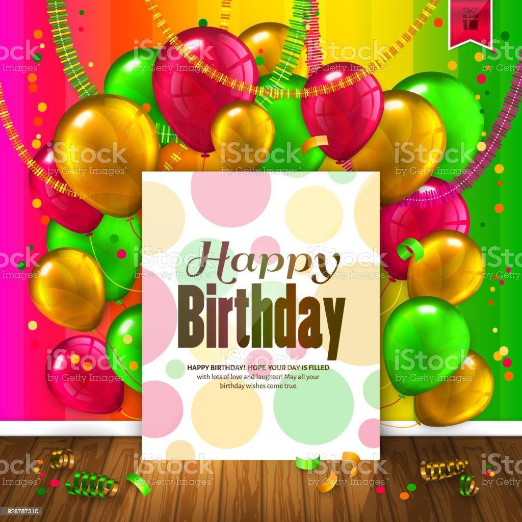 Birthday Card With Colorful Balloons Confetti Wooden Floor And Paper Wishes Text Vector