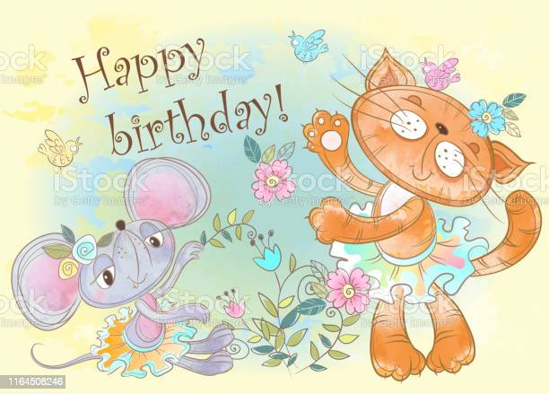 Birthday card with cute cat and mouse vector watercolor vector id1164508246?b=1&k=6&m=1164508246&s=612x612&h=adtumakphxindyduv4m3nluk9zri4ksjulolm1us9za=