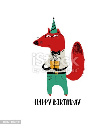 Birthday Card With Cute Fox Stock Vector Art More Images Of Animal