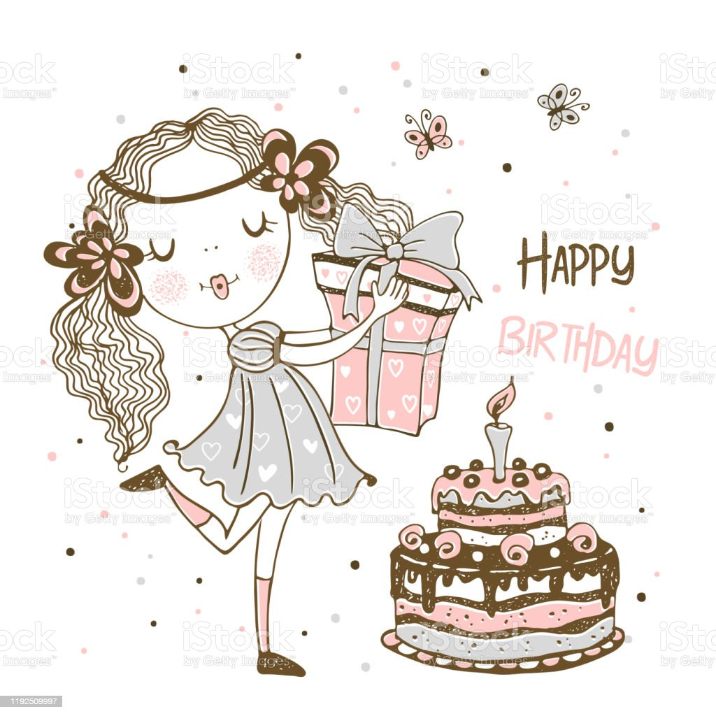 Marvelous Birthday Card With Cute Girl With Gifts And Birthday Cake Vector Funny Birthday Cards Online Overcheapnameinfo