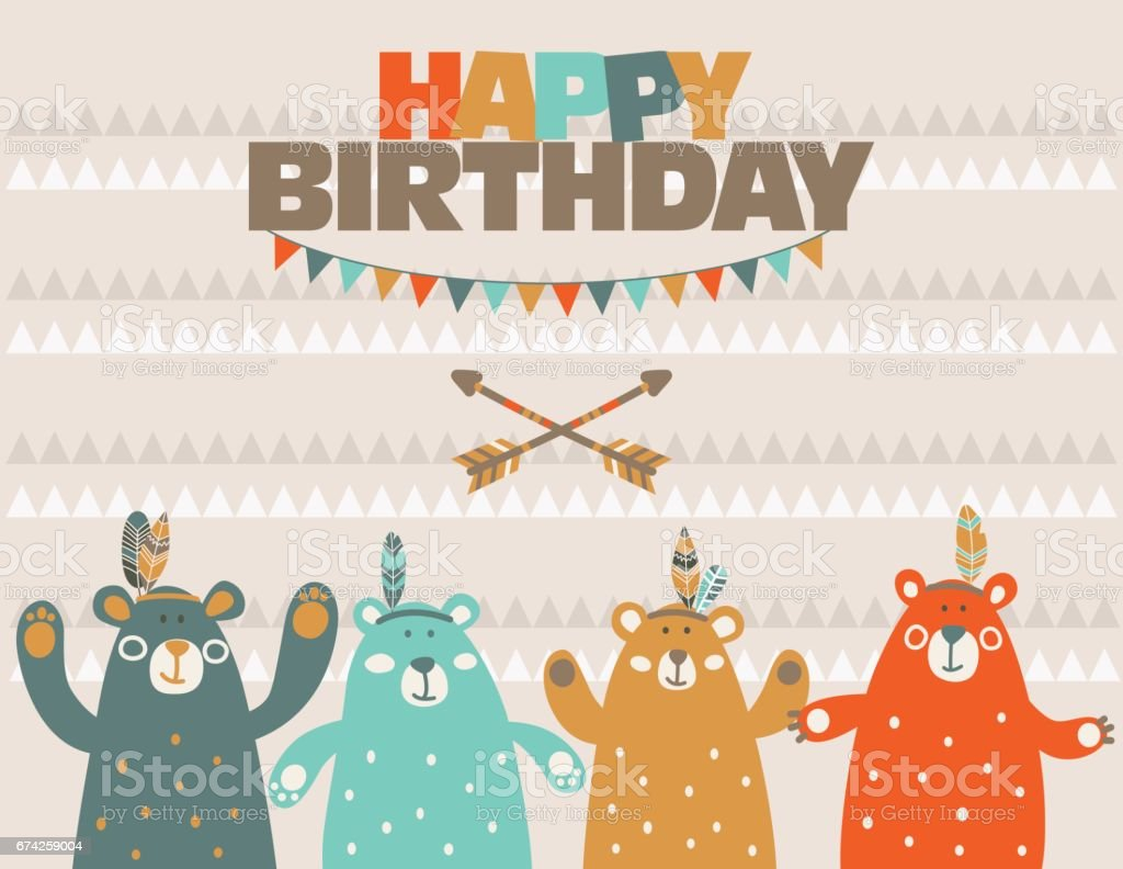 Birthday Card With Cute Indian Bears stock vector art 674259004 – Indian Birthday Cards