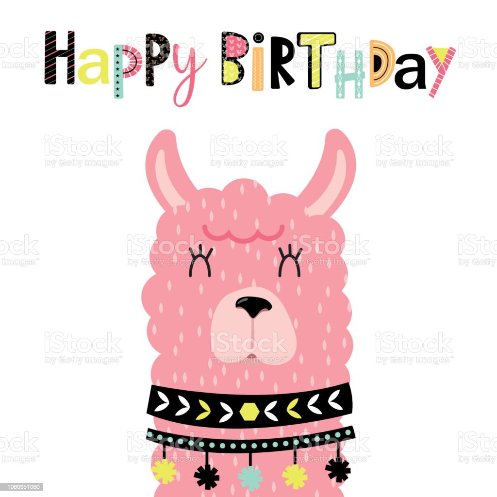 Tarjeta de cumpleaños con llama lindo, ilustración vectorial - ilustración de arte vectorial