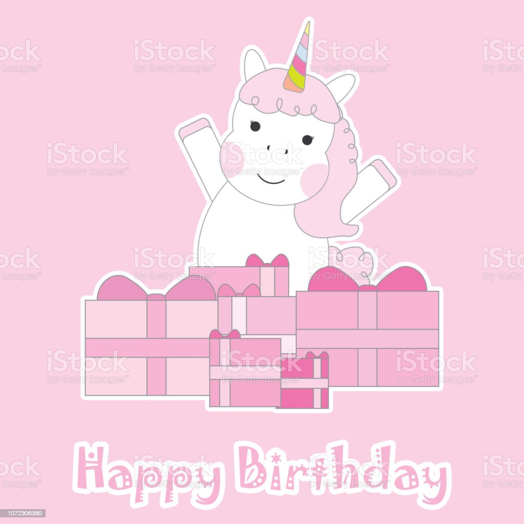 Birthday Card With Cute Unicorns And Pink Box Gifts Suitable For Greeting