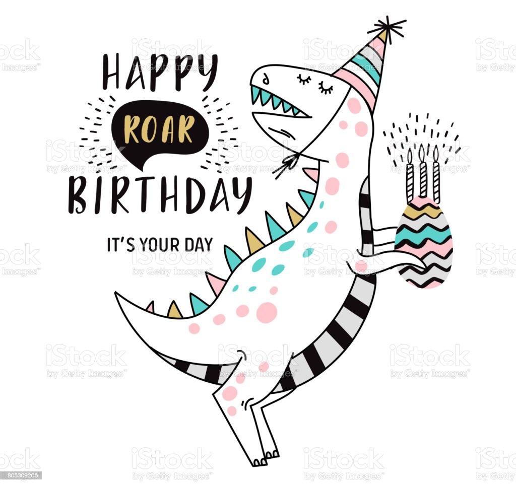 Carte d'anniversaire avec dinosaure - Illustration vectorielle