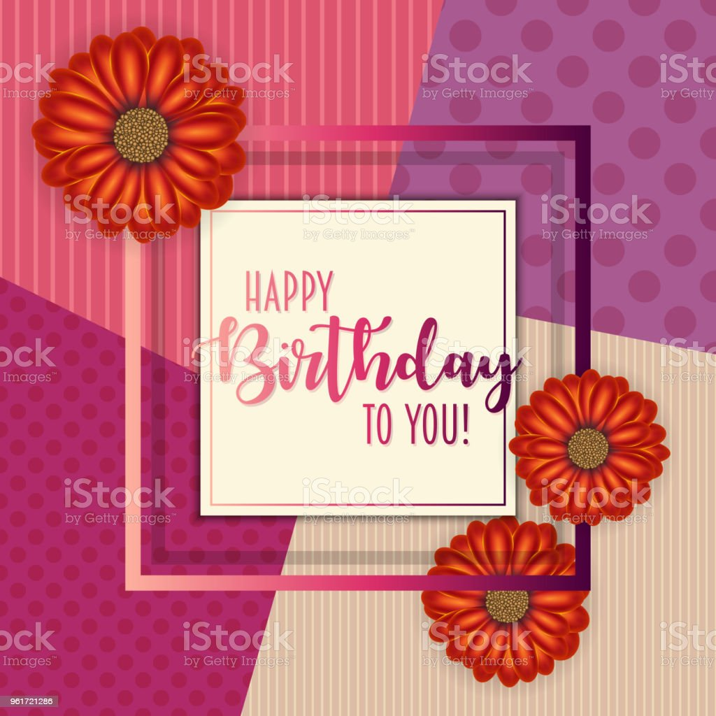 Birthday Card With Frame Decorated With Flowers And Vintage Retro