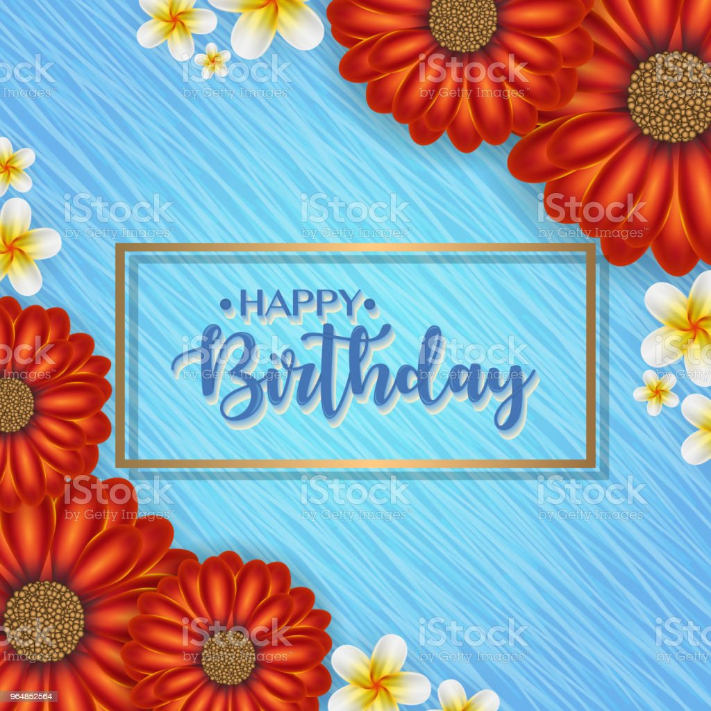 Birthday card with frame decorated with flowers and vintage retro background. royalty-free birthday card with frame decorated with flowers and vintage retro background stock vector art & more images of abstract