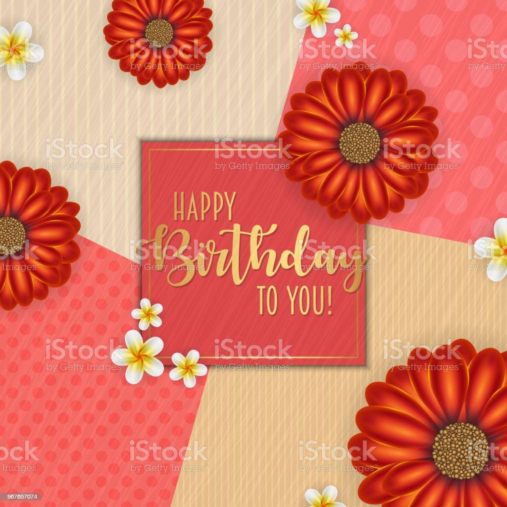 Birthday card with frame decorated with flowers and vintage retro birthday card with frame decorated with flowers and vintage retro background royalty free birthday izmirmasajfo