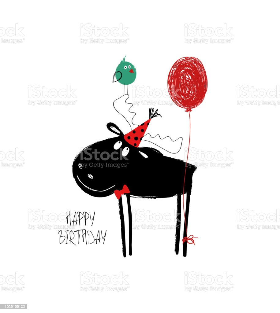 Birthday Card With Funny Moose
