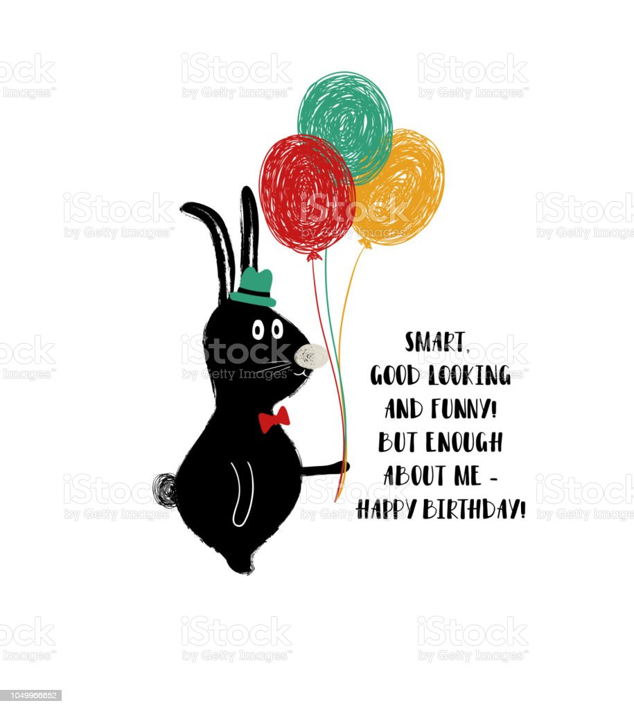 Birthday Card With Funny Rabbit Royalty Free Stock Vector