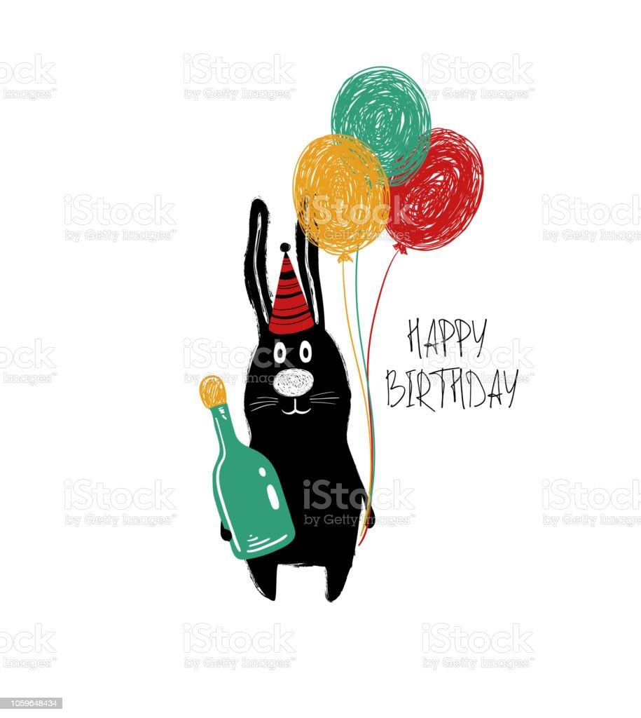 Birthday Card With Funny Rabbit