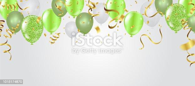 istock birthday card with green balloons. Happy birthday 1015174870