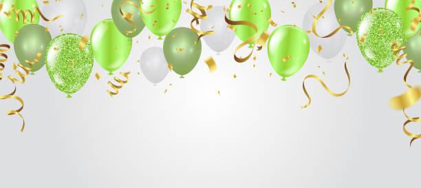 ilustrações, clipart, desenhos animados e ícones de cartão de aniversário com balões verdes. feliz aniversário - aposentadoria