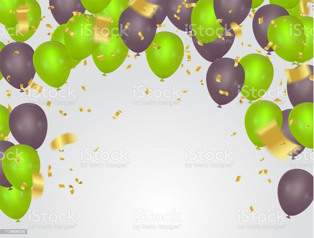Carte Danniversaire Avec Des Ballons Verts Joyeux Anniversaire Vecteurs Libres De Droits Et Plus Dimages Vectorielles De Abstrait