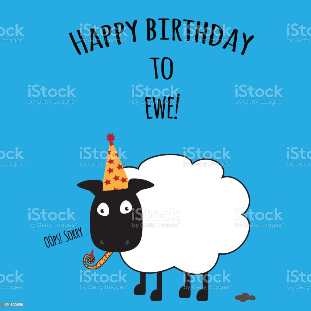 Birthday card with Happy Birthday to Ewe with cute sheep image royalty-free birthday card with happy birthday to ewe with cute sheep image stock vector art & more images of animal