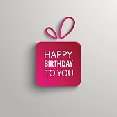 Birthday card with pink gift background