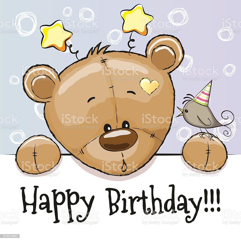 Birthday Card With Teddy Bear Stock Vektor Art Und Mehr Bilder Von