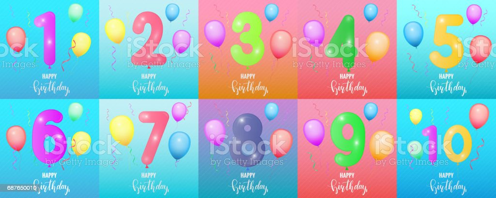 Birthday Cards Balloon Numbers Glossy Confetti Lettering And Trendy