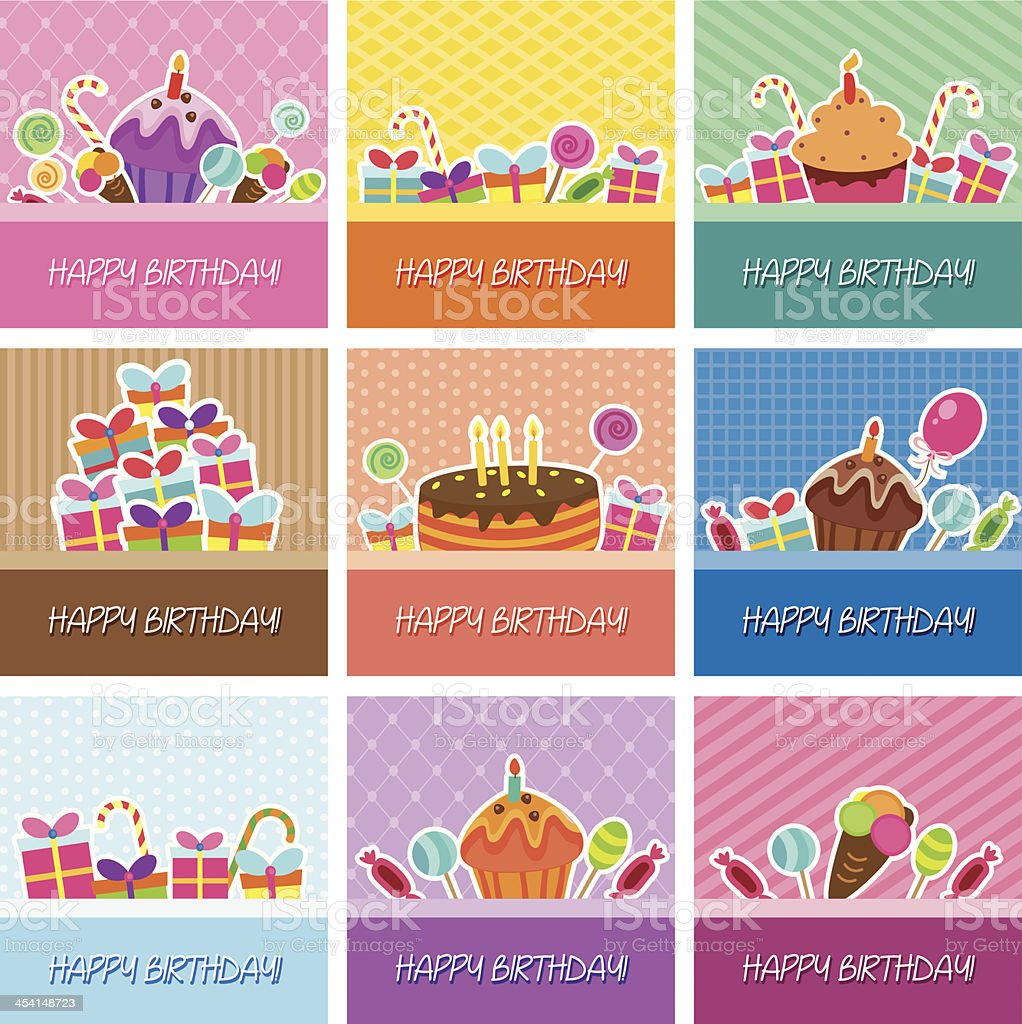 birthday cards big collection royalty-free stock vector art