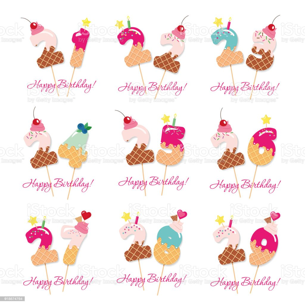 Birthday Cards Set Festive Sweet Numbers From 21 To 29 Coctail