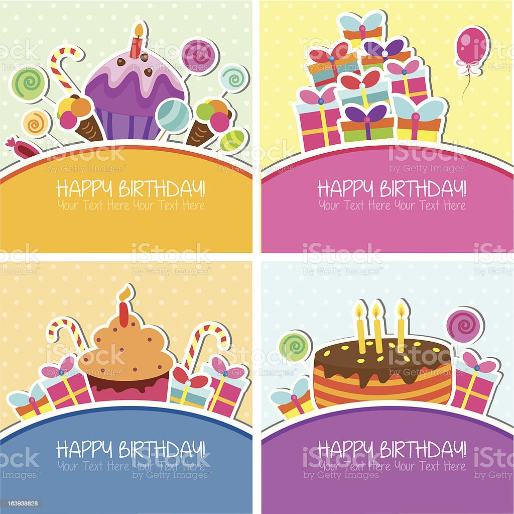 Birthday cards set vector art illustration